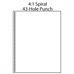 Punched 43-Hole 4:1 Spiral 8-1/2x11 20lb 500/pkg