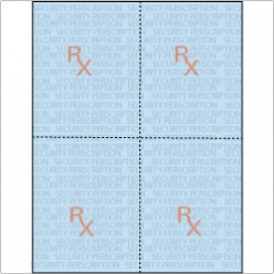 Rx Prescription Paper 8-1/2x11 24lb 4-up/sheet 250/pkg