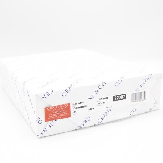 Crane's Lettra Pearl White Cover 26x20 220lb/600g 10/pkg