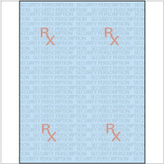 Rx Prescription Security Paper 8-1/2x11 24lb Blue-Tint 500pkg