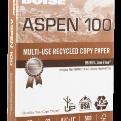 Aspen White 100% Recycled Copy Paper 8-1/2x11 20lb 500 pkg