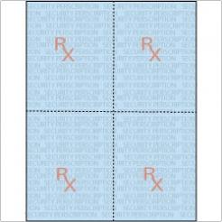 Rx Prescription Paper 8-1/2x11 24lb 4-up/sheet 250/pkg