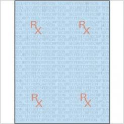 Rx Prescription Security Paper 8-1/2x11 24lb Blue-Tint 500pkg